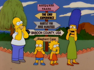 The Simpsons in the Springfield Zoo in the show