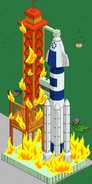 Rocket Launch Pad in flames