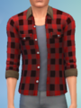 YmTop ShirtFlannelRolled SolidRed.png