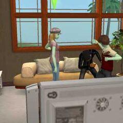 Tres adolescentes en <i>Los Sims 2</i>.