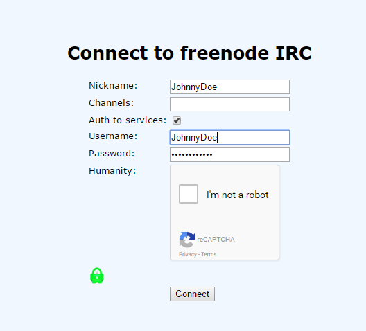 Freenode IRC webchat auth to services
