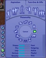 CAS - Personnalité & Aspiration (Les Sims 2)