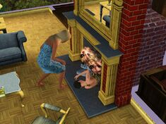 Female Sim in the fireplace