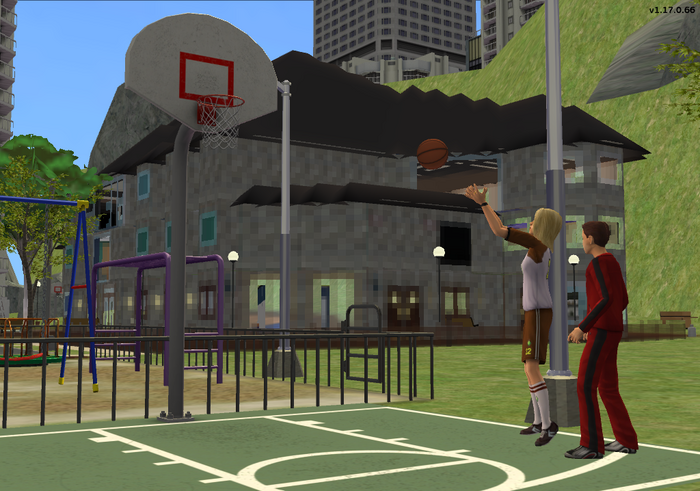 Alyssa and Andy playing basketball together