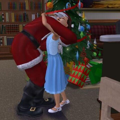 Papá Noel abrazando a un niño