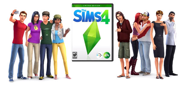 File:TS4 Promo Image w box art and Sims.jpg
