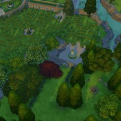 El laberinto y un área pequeña a la que solo se puede acceder a través del laberinto.