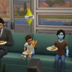 Un alienígena camuflado comiendo pizza con su familia.