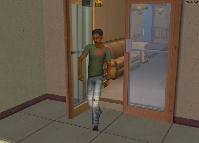 Toby Jocks casually strolling out door