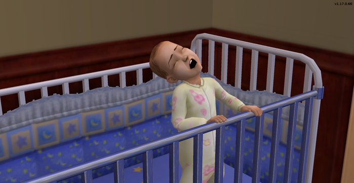 Georgia Newson whining in her crib