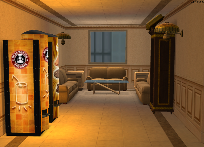 Teleprompter Apartments second floor bookcase couches and vending machines