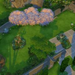 Un pequeño parque en el lado izquierdo de la zona de entrada.