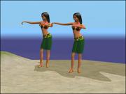 Hula Zombie som danser på stranden.