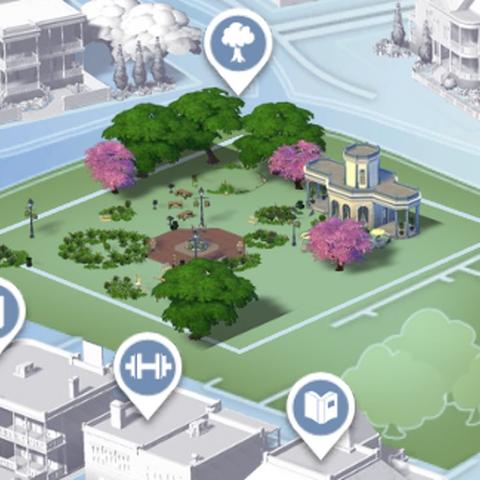 Magnolia Blossom Park como aparece en la vista del mapa antiguo.
