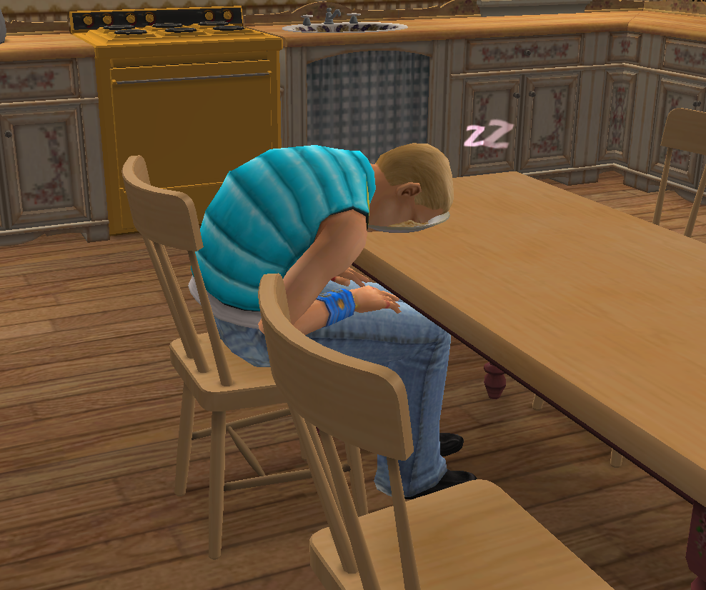 A SIM face down in a bowl of food. Self-care level needs to be better.