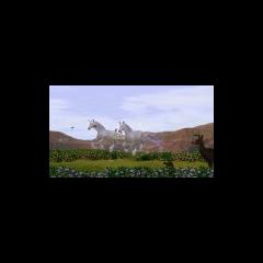 Dos unicornios corriendo en un campo.