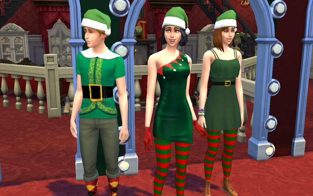 File:Fanon The Sims 4 Christmas Collection Sims wearing Christmas clothing.png