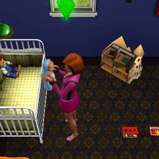 Una Sim interactuando con su bebé.