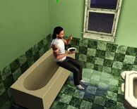 Sim eating in the bathtub