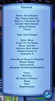 Grim Reaper's traits