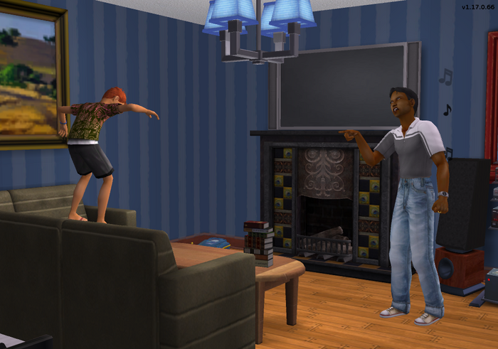 Sherman yelling at Dominic for jumping on couch