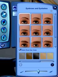 CAS - Sourcils et cils (Les Sims 3)