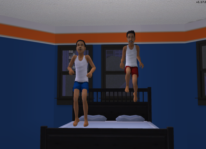 Joey and Tim jumping on bed