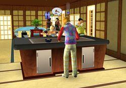 Larry Liu using teppanyaki table