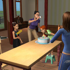 Una joven Ángela celebrando su cumpleaños en familia. Observe a Lili sentada sola en el sofá.