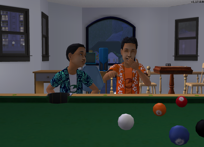 Joey and Tim by the pool table