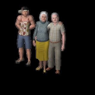 Dos Sims ancianos y su hijo.