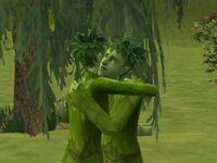 A suspicious hug