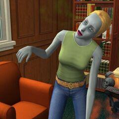 Un zombie en <i>Los Sims 2: Universitarios</i>.