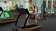Justine working out on treadmill