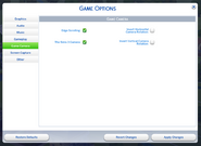 TS4 Options Game Camera
