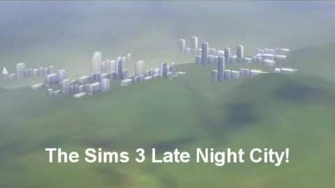 Ciudad de Los Sims 3 al caer la noche.Twinbrook.
