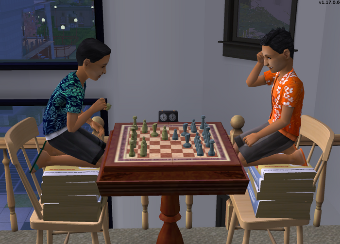 Joey and Tim playing chess