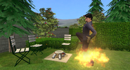 Sim getting caught on fire by fire jet