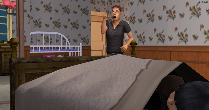 Gavin Newson yelling at Ginger in bed