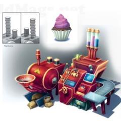 Boceto de una maquina para hacer pastelillos