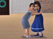 Toddler hugging