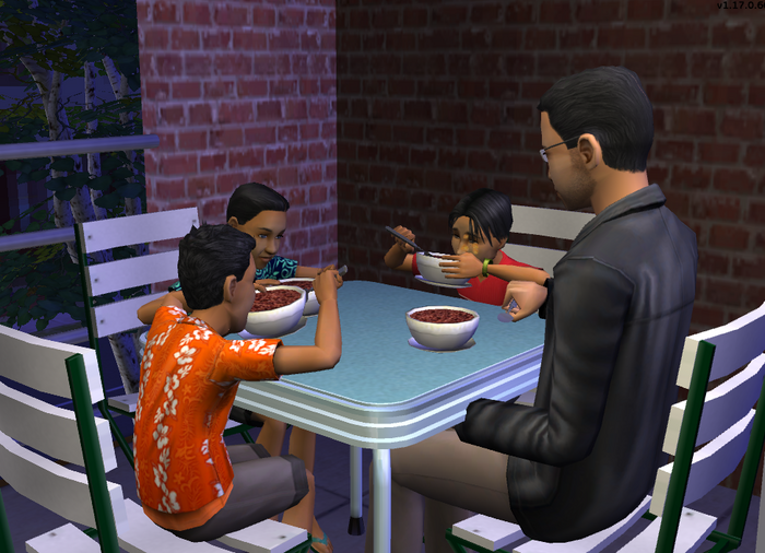 Walkers and Kovax eating dinner