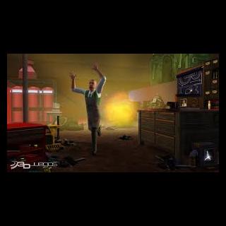 Un Sim Inventor corriendo de una explosión