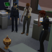 Mourning Police Officers and Urn Sims4