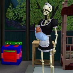 Bonehilda llevando a un bebe