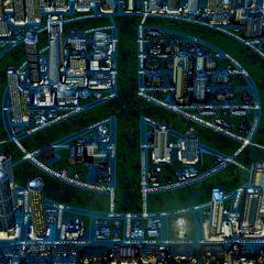 Signo de la Paz en una Ciudad