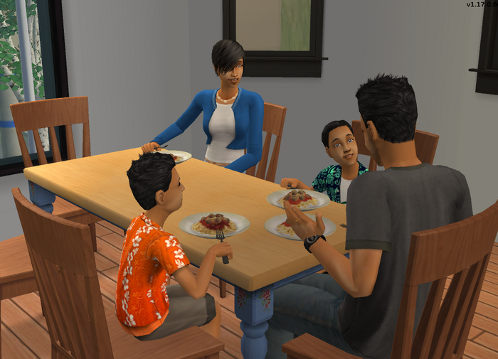 Kovax family eating dinner together