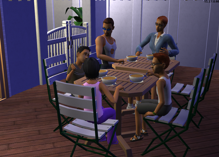 Cuevas family eating dinner on the patio