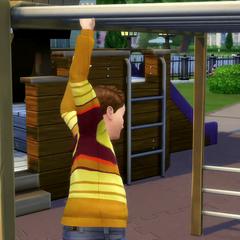 Un niño jugando en el parque.
