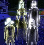 Familia de fantasmas en Los Sims 3.